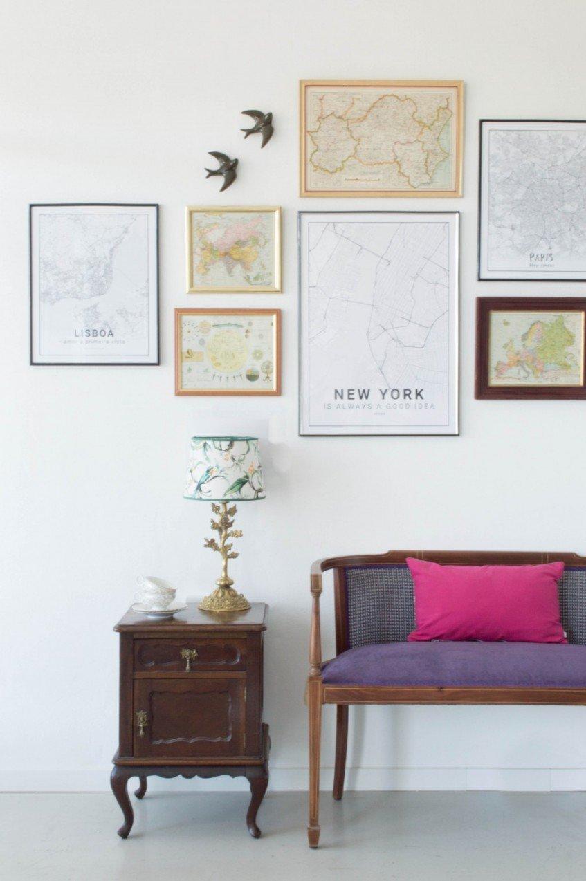 Cómo crear una gallery wall con mapas