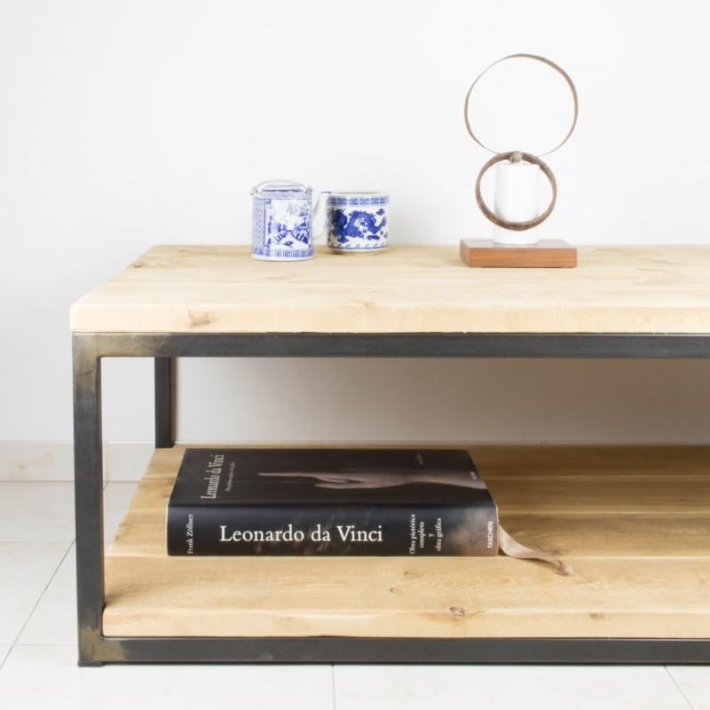 Mesa de centro de hierro y madera de pino recuperada - Mesas de centro madera y hierro ...