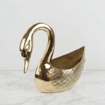 Macetero de bronce, forma de cisne
