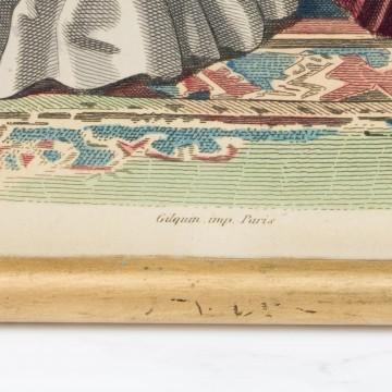 Antigua litografía coloreada, impresa en París