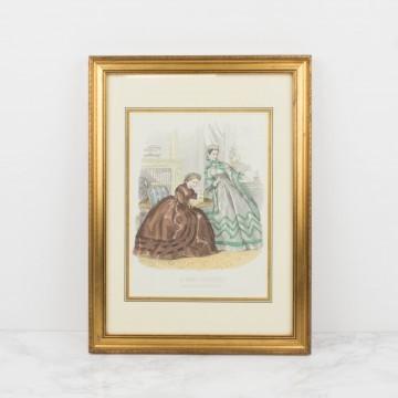 Antigua litografía coloreada, La Mode Illustrée