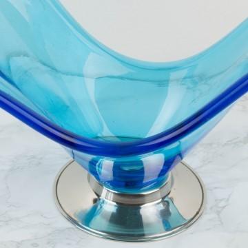 Centro de mesa de cristal de Murano azul grande