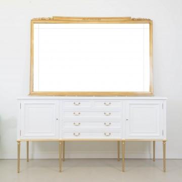 Aparador para baño, en blanco y dorado