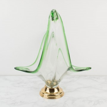 Centro de mesa de cristal de Murano verde grande