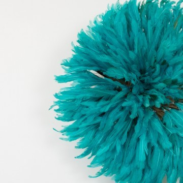 Juju hat o sombrero Bamileke, azul turquesa mediano