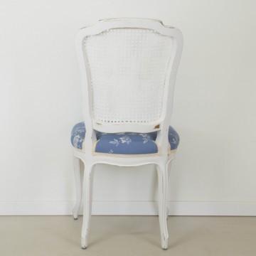Silla Francisca, en blanco decapé y azul