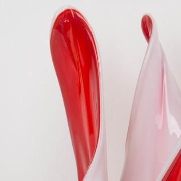Centro de mesa de Murano rojo y blanco