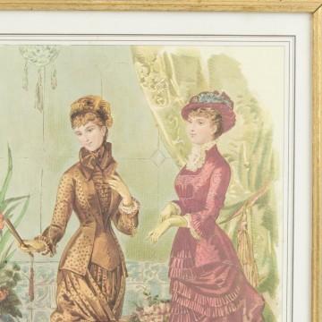 Litografía coloreada francesa sobre moda