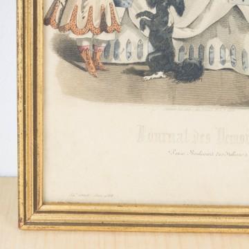 Antigua litografía coloreada de 1866