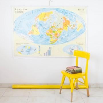 Mapa Mundi escolar reversible años 70