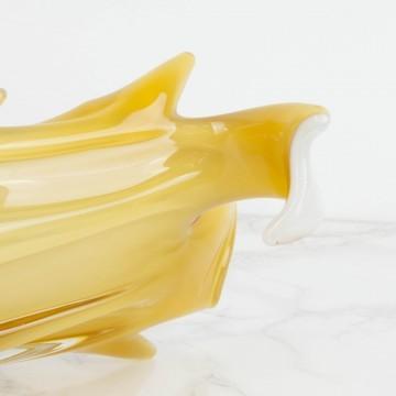 Centro de mesa de cristal de Murano ámbar y blanco