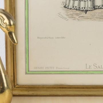Antigua litografía coloreada, Le Salon de la Mode