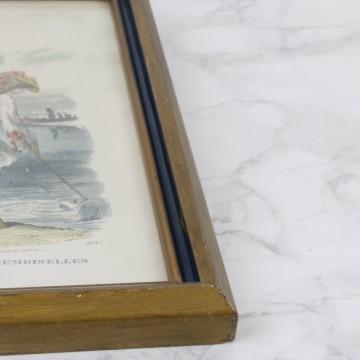 Pequeña y antigua litografía coloreada