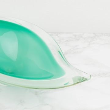Centro de mesa de cristal de Murano en verde opalino