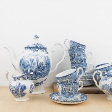 Juego de te inglés en porcelana blanca y azul