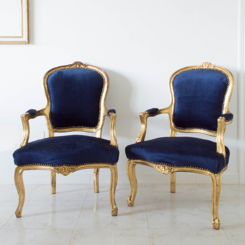 Pareja de butacas estilo lu s xv sillas muebles - Butacas tapizadas modernas ...