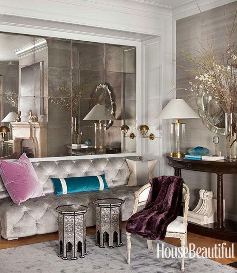 Decorar el sal n con grandes espejos get the look - Espejos modernos salon ...