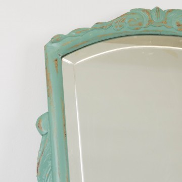 Espejo verde acabado decapé