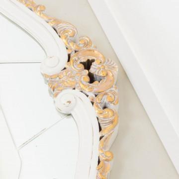Espejo isabelino blanco y dorado