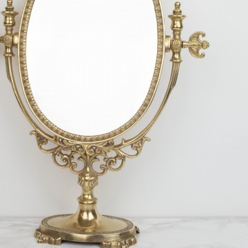 Espejo de tocador, de bronce