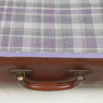 Maleta vintage grande marrón tapizada