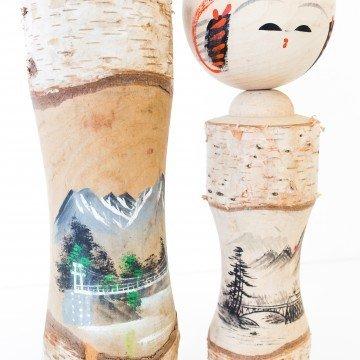 Colección de kokeshis vintage, tronco
