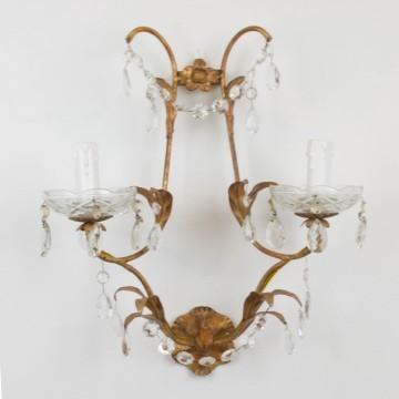 Aplique florentino, de metal y cristal