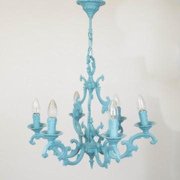 Chandelier francesa de bronce, azul turquesa