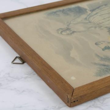 Pequeña litografía francesa coloreada