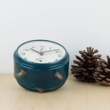 Reloj despertador azul metalizado