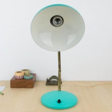 Lámpara flexo verde turquesa años 50