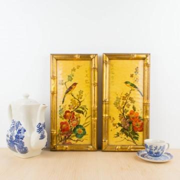 Pareja de cuadros estilo Chinoiserie