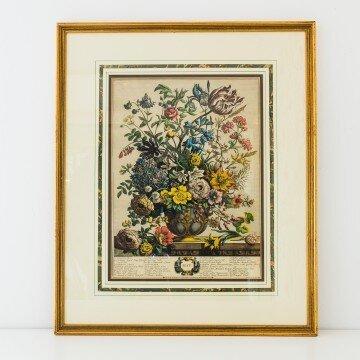 Litografía inglesa antigua de flores de Mayo