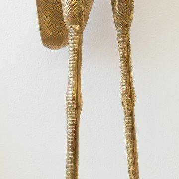 Pareja de grandes garzas de metal dorado