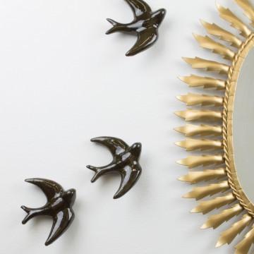 Golondrina artesanal color negro dorado