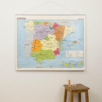 Mapa escolar reversible de España, años 80