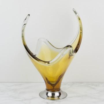 Centro de mesa de cristal de Murano ámbar grande