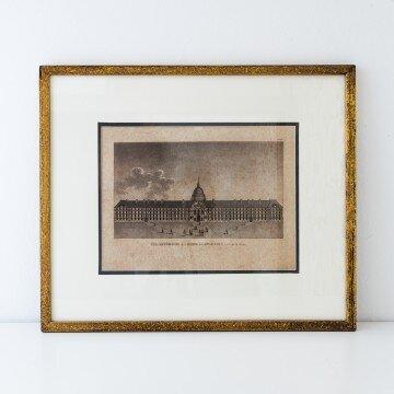 Litografía arquitectónica antigua, Hotel des Invalides
