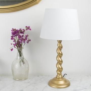 Lámpara dorada de madera torneada
