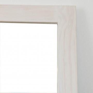 Espejo artesanal con pátina blanca