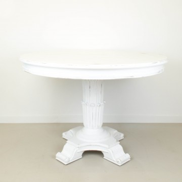 Mesa redonda Justina en blanco decapé