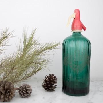 Antiguo sifón de color verde