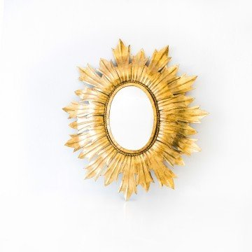 Espejo sol ovalado, pan de oro