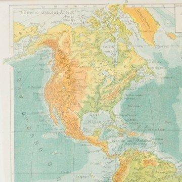 Mapa antiguo de América físico