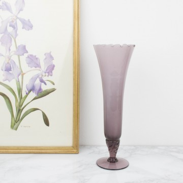 Jarrón o vaso de cristal opalino de Murano, color morado