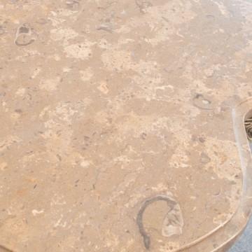 Consola metal dorado y sobre de mármol marrón con fósiles