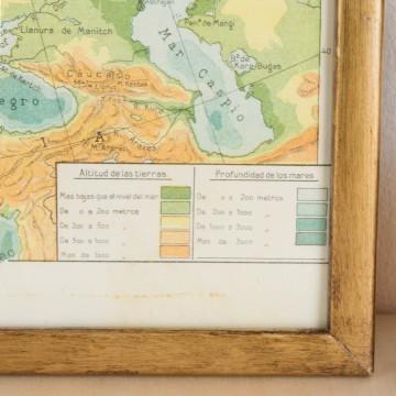 Mapa físico de Europa, litografía original