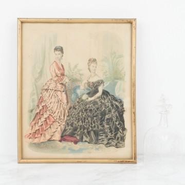 Litografía coloreada sobre moda, impresa en París