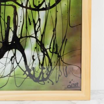 Alimentar el miedo, pintura abstracta original de Cèlia Izquierdo