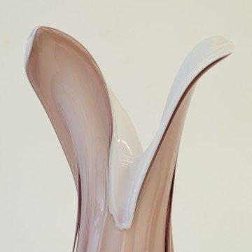 Jarrón de cristal de Murano, color morado y blanco